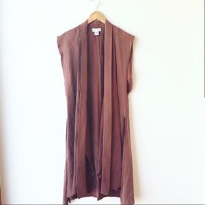 Vintage '80s flowy sleeveless duster robe cocoa S